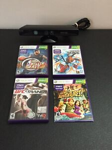 Xbox 360 Kinect Motion Sensor Bar & 4 Game Bundle Lot TESTED WORKING LOOK!