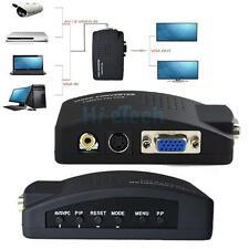New TV AV Composite S-Video RCA In to PC VGA Video Converter Box Adapter Black