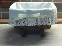 "Longaberger Mini Cradle Basket 1986 With Liner 7"" Wide"