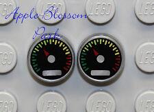 NEW 2 Lego 1x1 Round Gray FLAT TILE Truck Engine Gauge/Dial Speedometer Pattern