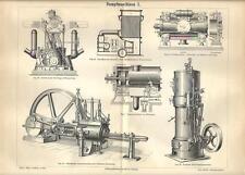 Stampa antica MOTORI MACCHINARI A VAPORE Tav. 1 meccanica 1890 Old antique print