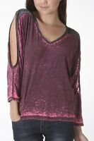 BNWT URBAN X Womens Sizes 8 & 12 Acid Wash Cold Shoulder Blouse T-Shirt Top