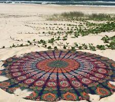 Indian Psychedelic round mandala Hippie multi colour bohemian closet beach Decor