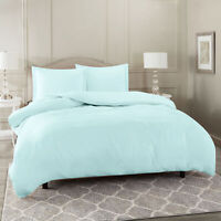 Duvet Cover Set Soft Brushed Comforter Cover W/Pillow Sham, Baby Blue - Twin