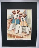 Fox Terriers Dog Print Winifred Martin Ready For Walk Bookplate 1950s Matted