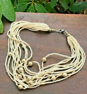 Vintage Necklace Faux Pearl Beads 12 Strand Torsade Gold Painted Beads