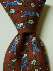 HERMES 7238 MA Mens Silk Necktie FRANCE Luxury MAN SWINGING FROM VINE Brown GUC