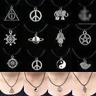 12Style New Tibetan Silver Pendant Necklace Choker Charm Black With Leather Cord