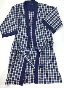 Stafford Mens Blue Plaid Cotton Robe Housecoat Bath Robe One size