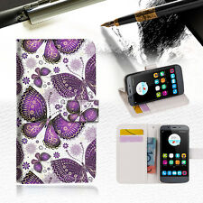 Purple Butterfly Phone Wallet Cover For Telstra Signature 2 Phone Case -- A017