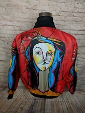 Vintage Braetan Womens M Bomber Jacket Art to Wear Red Picasso Abstract Colorful
