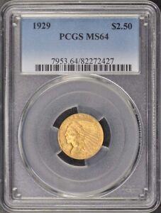 1929 $2.50 Indian Head PCGS MS64