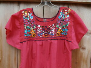 Peasant Boho Hippie Mexican Pink Hand Embroidered Flower Blouse Medium or Large