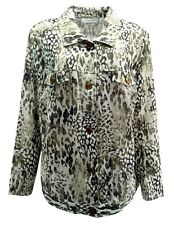 Sag Harbor Womens Coat Plus 2X Animal Print Textured L/S Button Front Casual
