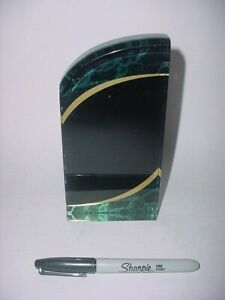 Award Plaque - Black with Green Marble and Gold Accent Acrylic
