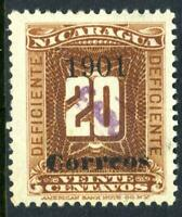 Nicaragua 1905 CABO Overprint on 20c Brown Due Max LC22 (2L11) VFU Y215