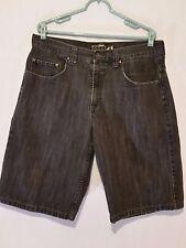 Charcoal Black BAGGY ANCHOR BLUE Long Denim Jean 36 Waist Shorts