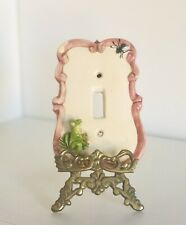 Vintage Art Studio Pottery Ceramic Light Switch Wall Plate Cover Frog Fly Mosaic