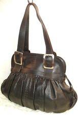 COLE HAAN Large Black Leather Shoulder Hobo Tote Satchel Slouch Pleated Handbag