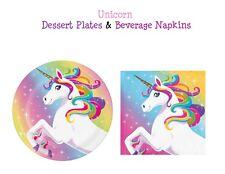 Unicorn Birthday Party Tableware Set Paper Dessert Plates & Beverage Napkins 30p