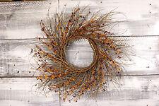 "Primitive Pip & Twig Wreath, 22"" - Burgundy & Gold"