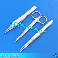 3pcs Surgical Kit Iris Scissors + Splinter Forceps + Adson Forceps