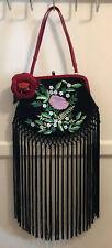 Vintage Moschino Black Floral Embroidered Fringe Shawl Frame Satin Shoulder Bag