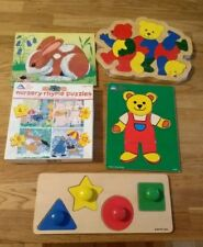 Vintage Wooden Jigsaws x5 8 Pieces Early Learning Centre Pre School