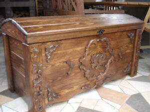 Wooden Blanket Box Coffee Table Trunk Vintage Chest Wooden Ottoman Toy Box (JUL1