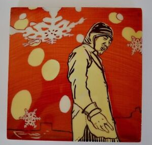 """Contemporary Wall Art Snowflakes Oriental Painting 8"""" x 8"""" x 1 1/4"""" on Wood"""