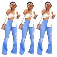 New Fashion Women's Ripped Skinny Long Bell-Bottom Jeans Casual Denim Pants Club