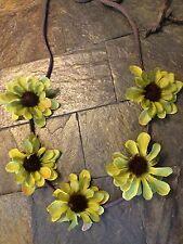 Handmade Sage Green Daisy Flower Suede Leather String Tie Headband Festival Girl