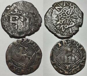 ORIGINAL SPAIN  BEFORE KING PHILLIP II 1556 - 1598 UNIDENTIFIED 2 COINS LOT