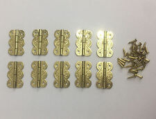 10 Miniature Decorative Hinges with Fixing Pins 19mm long