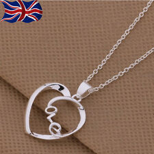 "925 Sterling Silver Love Heart Necklace Pendant 18"" Chain Romantic Gift UK"