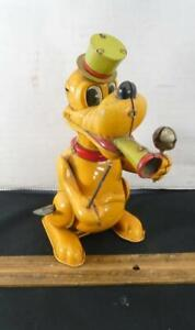 RARE Vintage Walt Disney Pluto Drum Major Tin Wind Up Toy Line MAR Japan !!