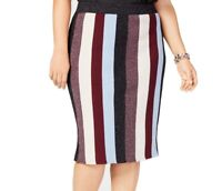 INC Womens Skirt Purple Blue Size 3X Plus Striped Metallic Stretch $79 236