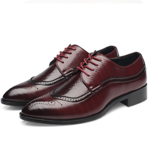 En Casual Dress Shoes Pointed Toe Lace Up Oxfords Leather Shoe Work Flat Brogue