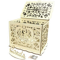 Gold Card Box Hollow Sign Boxes With Lock For Wedding Decoration Wood MR & MRS