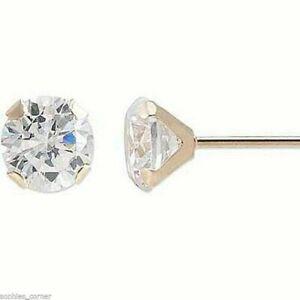 Genuine Round Diamond Stud Screw Back Earrings in Solid 14k Yellow Gold