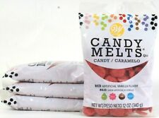 4 Bags Wilton 12 Oz Candy Melts Red Colored Vanilla Flavored Mold Dip Drizzle
