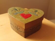 Vintage Metal Rustic Handmade County Punched Hole Heart Shape Keepsake Box.