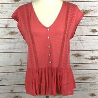 Lucky Brand Women's XS Pink Orange V Neck Popover Short Sleeve Crochet Trim Top