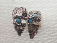 Silver wings ear rings stecker with turquoise