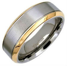 TITANIUM Matte Polished RING BAND with Gold Plated Edges, size 8 - in Gift Box