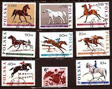 POLONIA serie de 8 sellos +1 matasellados : Concours ecuestre 19T3