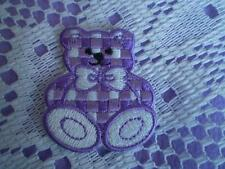 10 x 100% EMBROIDERY IRON ON PINK PURPLE BLUE YELLOW GINGHAM TEDDY BEAR PATCH A+