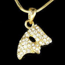 w Swarovski Crystal ~Phantom of the Opera Mask Masquerade Gold PL Charm Necklace