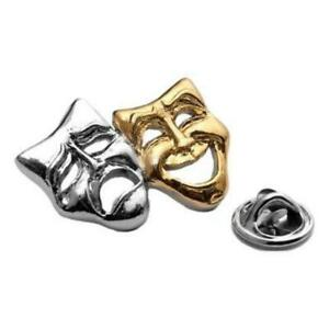 Polished Theatre Masks gold/silver-plated pin badge gift musician conductor teac