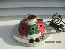 Vintage Lighted Cast Iron Christmas Tree Stand with Poinsettias & Glitter Paint